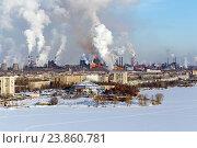 Купить «Экологическая проблема загрязнения окружающей среды и воздуха в крупных городах», фото № 23860781, снято 7 февраля 2015 г. (c) Евгений Ткачёв / Фотобанк Лори