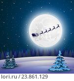Купить «Рождественская ночь. Санта-Клаус на оленях», иллюстрация № 23861129 (c) Мастепанов Павел / Фотобанк Лори