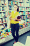 Young woman in book shop, фото № 23861961, снято 20 октября 2016 г. (c) Яков Филимонов / Фотобанк Лори
