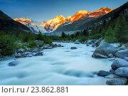 Купить «Morteratsch valley, Piz Palue, 3905 ms, Piz Bernina, 4049 ms, Biancograt, Morteratsch glacier, Grisons Switzerland», фото № 23862881, снято 9 июля 2016 г. (c) age Fotostock / Фотобанк Лори