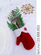 Купить «Сервировка новогоднего стола», эксклюзивное фото № 23888053, снято 10 октября 2016 г. (c) Blekcat / Фотобанк Лори