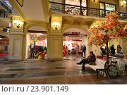 Купить «Осеннее оформление в ГУМе в Москве», эксклюзивное фото № 23901149, снято 20 октября 2016 г. (c) lana1501 / Фотобанк Лори