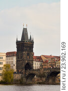 Купить «Пороховая башня у Карлова мост в Праге (Чехия)», фото № 23902169, снято 13 апреля 2014 г. (c) Хименков Николай / Фотобанк Лори