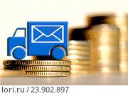 Купить «Почтовая машина  на фоне столбиков монет  », фото № 23902897, снято 12 февраля 2016 г. (c) Сергеев Валерий / Фотобанк Лори
