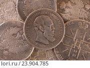 Старинный фон монета серебряный рубль России Александр III. Стоковое фото, фотограф Сергей Кудрявцев / Фотобанк Лори