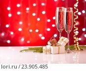 Купить «Champagne. New year and Christmas.», фото № 23905485, снято 25 июля 2016 г. (c) Мельников Дмитрий / Фотобанк Лори