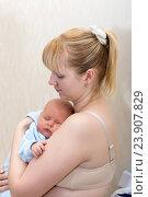 Купить «Малыш спит на руках у матери», фото № 23907829, снято 7 января 2015 г. (c) Андрей Некрасов / Фотобанк Лори