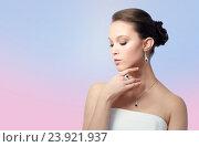 Купить «beautiful woman with earring, ring and pendant», фото № 23921937, снято 9 апреля 2016 г. (c) Syda Productions / Фотобанк Лори