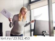 Купить «pregnant businesswoman stressing at office work», фото № 23922453, снято 1 октября 2016 г. (c) Syda Productions / Фотобанк Лори