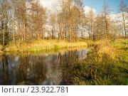 Осенний пейзаж с рекой. Стоковое фото, фотограф Сергей Овчинников / Фотобанк Лори