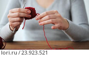 Купить «woman with crochet hook unweaving knitting», видеоролик № 23923521, снято 22 октября 2016 г. (c) Syda Productions / Фотобанк Лори