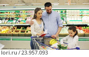 Купить «family with food in shopping cart at grocery store», видеоролик № 23957093, снято 24 октября 2016 г. (c) Syda Productions / Фотобанк Лори
