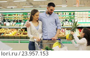 Купить «family with food in shopping cart at grocery store», видеоролик № 23957153, снято 24 октября 2016 г. (c) Syda Productions / Фотобанк Лори