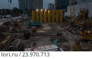Купить «Timelapse of works on construction site in the evening», видеоролик № 23970713, снято 7 сентября 2016 г. (c) Данил Руденко / Фотобанк Лори