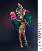 Купить «Симпатичная молодая девушка в красочном карнавальном костюме с перьями на темном фоне», фото № 23971465, снято 24 января 2015 г. (c) Евгений Захаров / Фотобанк Лори