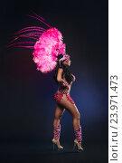 Купить «Симпатичная молодая девушка в розовом карнавальном костюме с перьями на темном фоне», фото № 23971473, снято 24 января 2015 г. (c) Евгений Захаров / Фотобанк Лори