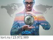 Купить «Businesswoman in global business concept», фото № 23972989, снято 15 июля 2016 г. (c) Elnur / Фотобанк Лори