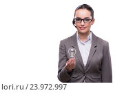 Купить «Call center operator with light bulb isolated on white», фото № 23972997, снято 15 июля 2016 г. (c) Elnur / Фотобанк Лори