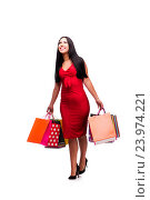 Купить «Woman in red dres after shopping isolated on white», фото № 23974221, снято 28 июля 2016 г. (c) Elnur / Фотобанк Лори