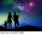 Купить «Illustration of people look the fireworks explosion», фото № 23977369, снято 6 ноября 2014 г. (c) easy Fotostock / Фотобанк Лори