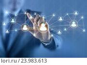 Купить «Businessman in social networks concept», фото № 23983613, снято 17 июля 2018 г. (c) Elnur / Фотобанк Лори