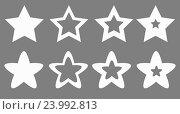 Набор звезд на сером фоне. Стоковая иллюстрация, иллюстратор David Murk / Фотобанк Лори