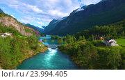 Купить «lovatnet lake Beautiful Nature Norway.», видеоролик № 23994405, снято 25 октября 2016 г. (c) Андрей Армягов / Фотобанк Лори