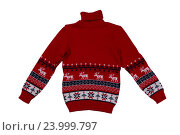 Купить «Красный вязаный свитер», фото № 23999797, снято 24 сентября 2016 г. (c) Руслан Кудрин / Фотобанк Лори