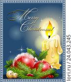Рождественский фон со свечой и новогодними шарами. Стоковая иллюстрация, иллюстратор Лариса К / Фотобанк Лори