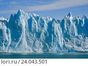 Купить «Вид с воды на ледник Перито-Морено в национальном парке Лос-Гласьярес (Патагония)», фото № 24043501, снято 21 марта 2016 г. (c) AK Imaging / Фотобанк Лори