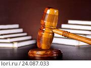 Купить «Law theme, mallet of judge, wooden gavel», фото № 24087033, снято 23 марта 2013 г. (c) easy Fotostock / Фотобанк Лори