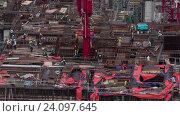Купить «Timelapse of builders working on construction site», видеоролик № 24097645, снято 5 ноября 2015 г. (c) Данил Руденко / Фотобанк Лори