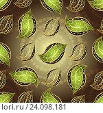 Купить «Фон с рисунками стилизованных цветов и листьев», иллюстрация № 24098181 (c) Ольга Дроздова / Фотобанк Лори