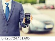 Купить «close up of business man with smartphone app», фото № 24131605, снято 17 июля 2015 г. (c) Syda Productions / Фотобанк Лори
