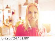 happy creative woman at office or bureau. Стоковое фото, фотограф Syda Productions / Фотобанк Лори