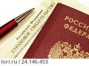 Купить «Паспорт, страховое свидетельство и ручка», эксклюзивное фото № 24146453, снято 5 ноября 2016 г. (c) Юрий Морозов / Фотобанк Лори