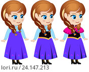 Купить «Принцесса Анна (рисованный персонаж в векторе)», иллюстрация № 24147213 (c) Jane Miau / Фотобанк Лори