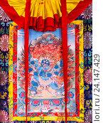 Купить «Буддийская Танка, тхангка, кутханг — изображение, преимущественно религиозного характера, выполненное клеевыми красками или отпечатанное на шелке или хлопчатобумажной ткани в монастыре в Гангтоке, штат Сикким, Индия», фото № 24147429, снято 27 декабря 2011 г. (c) Олег Иванов / Фотобанк Лори