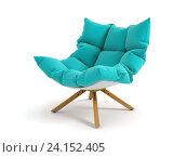 Купить «Голубое мягкое кресло на деревянных ножках на белом фоне», иллюстрация № 24152405 (c) Hemul / Фотобанк Лори