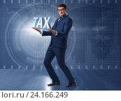 Купить «Man under the burden of tax payments», фото № 24166249, снято 13 декабря 2019 г. (c) Elnur / Фотобанк Лори