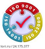 Купить «ISO 9001, ISO 14001, ISO 22000. Отметка в форме пазла», иллюстрация № 24175377 (c) WalDeMarus / Фотобанк Лори