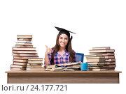 Young student preparing for school exams. Стоковое фото, фотограф Elnur / Фотобанк Лори