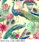 Бесшовный узор с павлинами. Стоковая иллюстрация, иллюстратор Irene Shumay / Фотобанк Лори