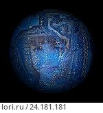Купить «Лицо женщины на фоне электронной цифровой платы», фото № 24181181, снято 9 октября 2011 г. (c) Юрий Плющев / Фотобанк Лори
