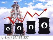 Купить «Бочки и график изменения цен на нефтепродукты», фото № 24181337, снято 15 августа 2016 г. (c) Сергеев Валерий / Фотобанк Лори