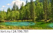 Голубое гейзерное озеро, около села Акташ, Улаганский район, Горный Алтай, Сибирь, Россия. Стоковое фото, фотограф Great Siberia Studio / Фотобанк Лори