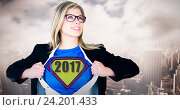 Купить «Composite image of businesswoman opening her shirt superhero style», фото № 24201433, снято 4 июля 2020 г. (c) Wavebreak Media / Фотобанк Лори