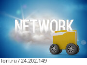 Купить «Composite image of digital image of yellow folder with wheels», фото № 24202149, снято 17 марта 2018 г. (c) Wavebreak Media / Фотобанк Лори