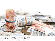Купить «Много российских денег», фото № 24203677, снято 11 ноября 2016 г. (c) Наталья Осипова / Фотобанк Лори