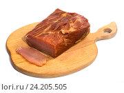 Купить «Копчёное мясо на кухонной доске на белом фоне», фото № 24205505, снято 10 ноября 2016 г. (c) V.Ivantsov / Фотобанк Лори